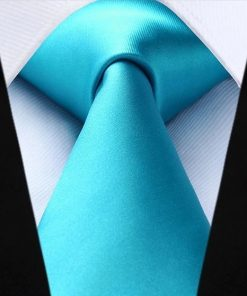 Luxusná kravatová sada - kravata a vreckovka v tyrkysovej farbe