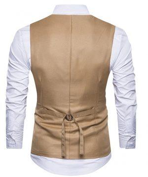 Kvalitná pánska vesta ku obleku s ornamentom v hnedej farbe