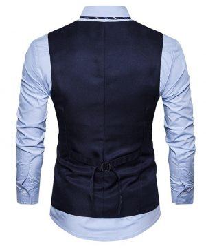 Kvalitná pánska vesta ku obleku s ornamentom v modrej farbe