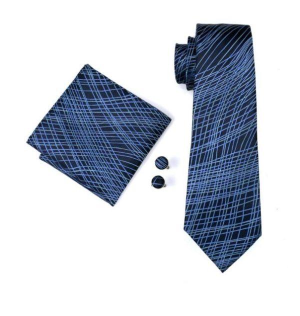Kravatová sada - kravata + manžetové gombíky + vreckovka s modrým vzorom