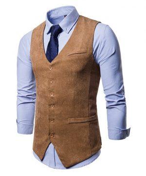 Luxusná pánska vesta ku obleku v tvídovom / menčestrovom prevedení - hnedá