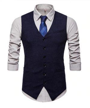 Luxusná pánska vesta ku obleku v tvídovom / menčestrovom prevedení - modrá