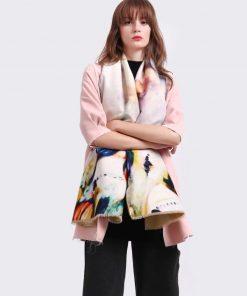 Ručne tkaný šál z kašmíru s luxusným farebným vzorom