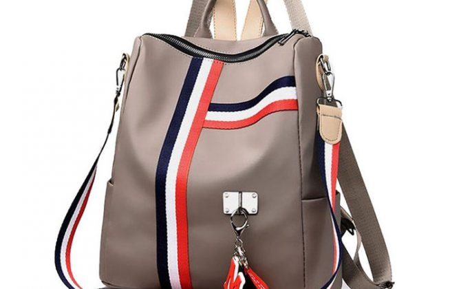 Luxusný ruksak s možnosťou využitia ako kabelky, khaki farba (6)