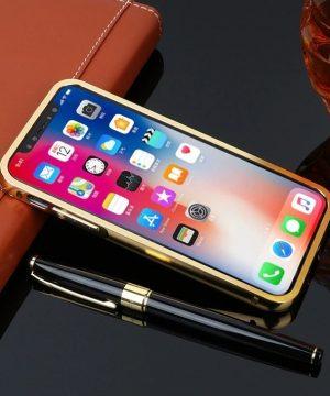 Luxusný zlatý zrkadlový obal na iPhone X
