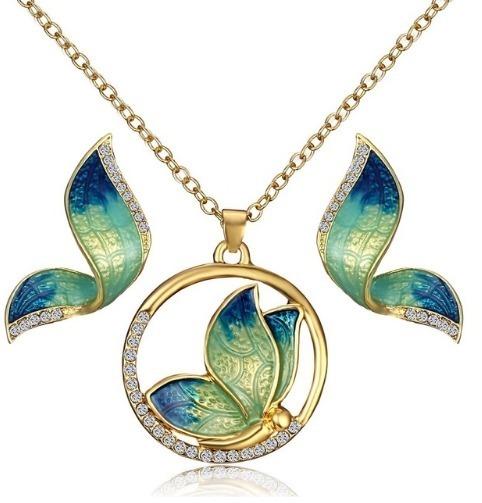 Elegantný šperkový set - náušnice + náhrdelník, v tvare modro-zelených motýľov