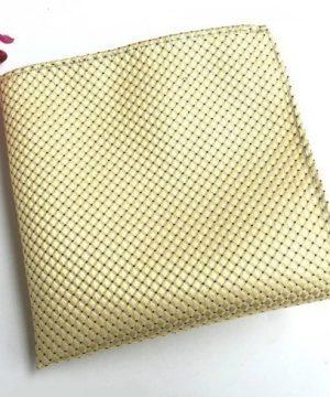 Hodvábna kravata a hodvábna vreckovka - spoločenský set v žltej farbe