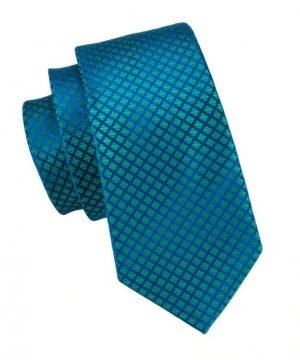 Kravatová sada - kravata + manžetové gombíky + vreckovka v modro-zelenej farbe