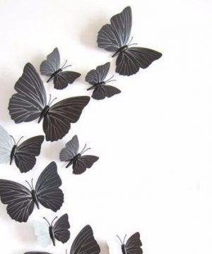 Kreatívne nálepky na stenu z PVC - MOTÝLE ČIERNE- 12 kusov