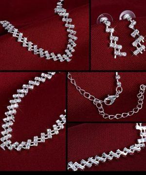 Luxusný šperkový set - náušnice + náhrdelník s kryštálikmi
