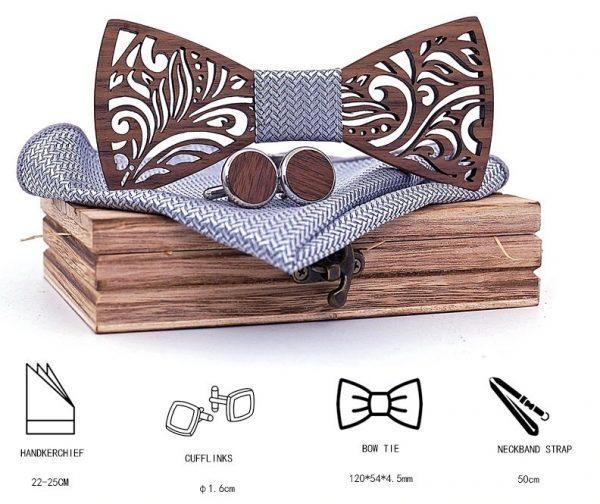 Drevený reliéfny set s krabičkou - drevený motýlik + manžety + vreckovka