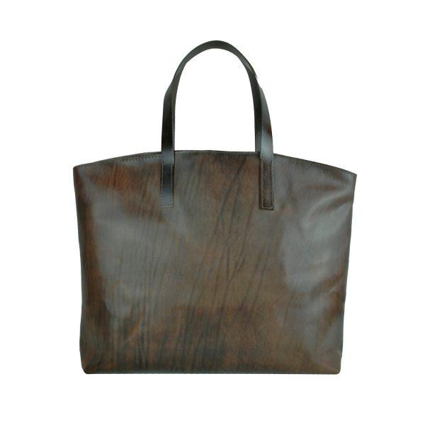 Kožená kabelka veľká na plece SHOPPER BAG, ručne farbená, tmavo hnedá (6)
