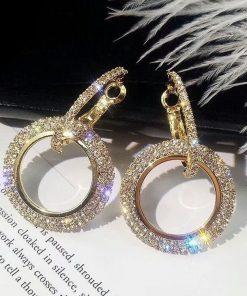 Luxusné náušnice s kryštálikmi v zlatej a striebornej farbe