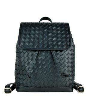 Ručne pletený kožený ruksak z pravej hovädzej kože č.8739 v čiernej farbe (6)
