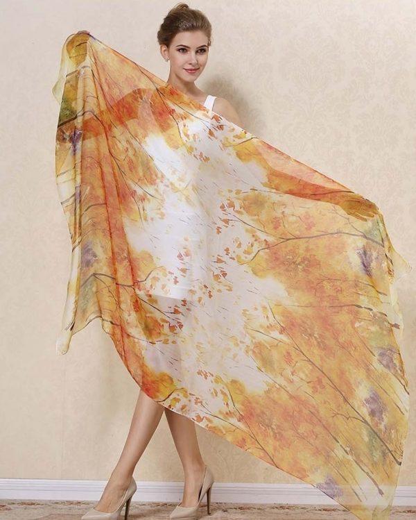 Exkluzívny veľký hodvábny šál v jesenných farbách