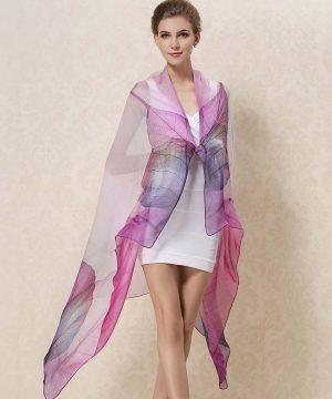 Exkluzívny veľký hodvábny šál vo fialovej farbe