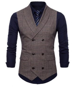 Kvalitná pánska vesta s jemným vzorom v kávovo-hnedej farbe