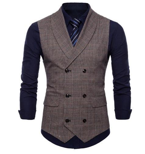 a137e8dd9c5f Kvalitná pánska vesta s jemným vzorom v kávovo-hnedej farbe ...