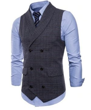 Kvalitná pánska vesta s jemným vzorom v tmavo sivej farbe