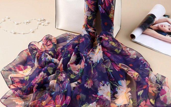 Luxusná veľká šatka z umelého hodvábu 180 x 140 cm _ model 09