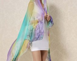 Exkluzívny veľký hodvábny šál v dúhových farbách