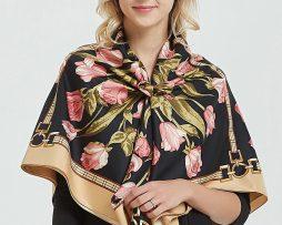 265cd8ad0c07 Elegantná hodvábna šatka s kvetinami