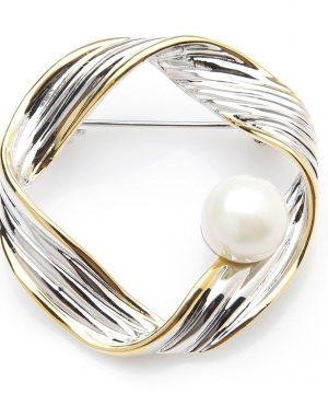 Prepracovaná smaltovaná brošňa v zlato-striebornej farbe s perlou