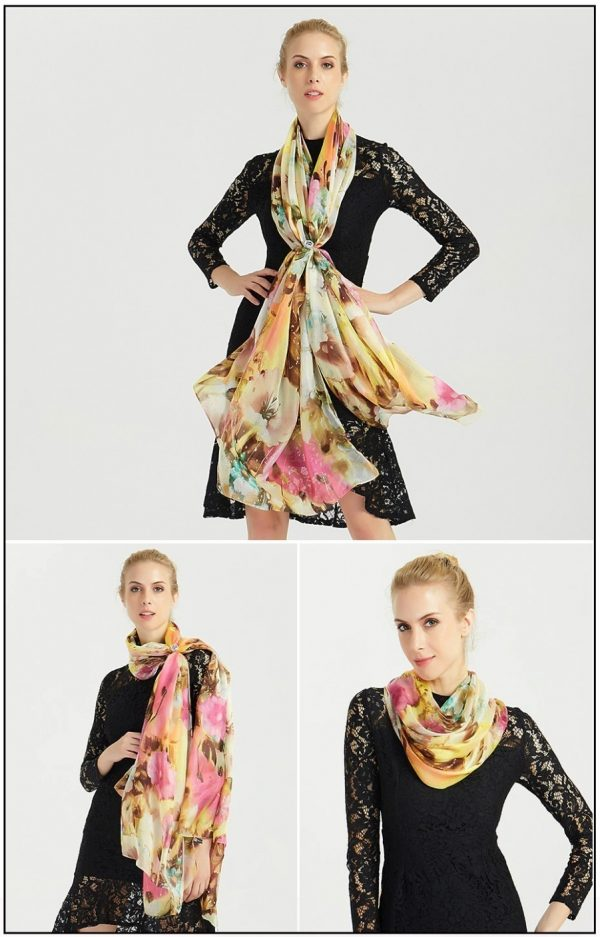 Luxusný šál zo 100% hodvábu s pestrofarebným kvetinovým vzorom