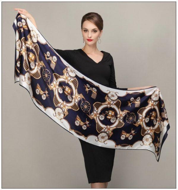 Luxusný hodvábny šál rozmerov 178 x 55 cm - Retro