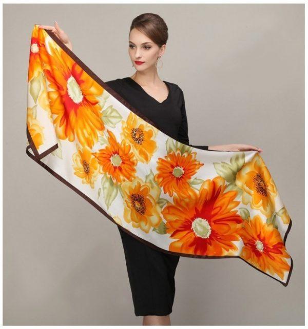 Luxusný hodvábny šál rozmerov 178 x 55 cm - Sunflowers