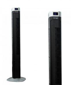 Luxusný ventilátor stĺpový V-TAC s ukazovateľom teploty a ďialkovým ovládaním, 120cm, 55W, Čierna farba