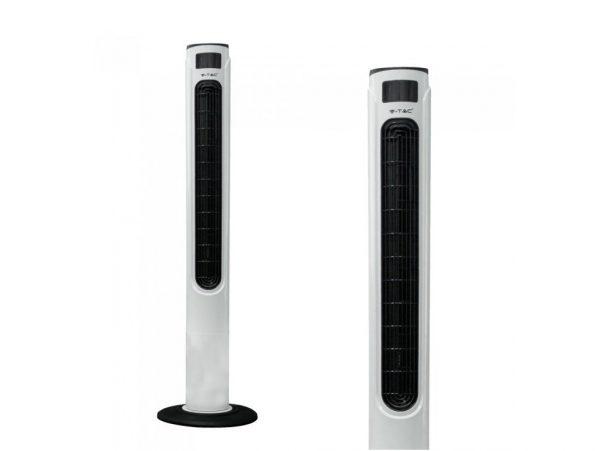 Luxusný ventilátor stĺpový V-TAC s ukazovateľom teploty a ďialkovým ovládaním, 120cm, 55W, Biela farba