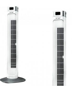 Luxusný ventilátor stĺpový V-TAC s ukazovateľom teploty a ďialkovým ovládaním, 90cm, 55W, Biela farba