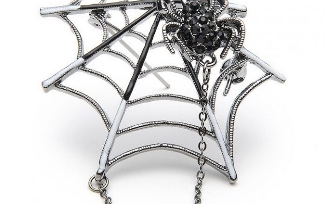 Prepracovaná smaltovaná brošňa - pavúk na pavučine s magnetom