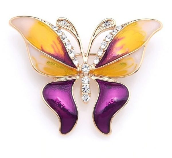 Prepracovaná smaltovaná brošňa prívesok v tvare farebného motýľa