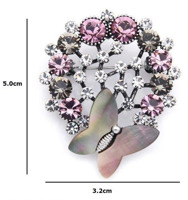 Prepracovaná smaltovaná brošňa prívesok v tvare kytice s motýľom