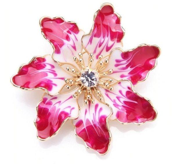 Prepracovaná smaltovaná brošňa prívesok v tvare nádhernej kvetiny