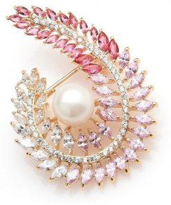Prepracovaná smaltovaná brošňa s nádhernými kryštálmi a perlou