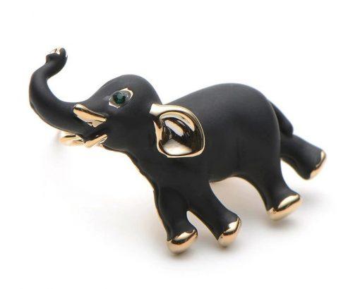 Prepracovaná smaltovaná brošňa - slon pre šťastie