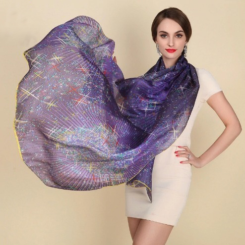 Luxusný šál zo 100% hodvábu s motívom nočnej oblohy