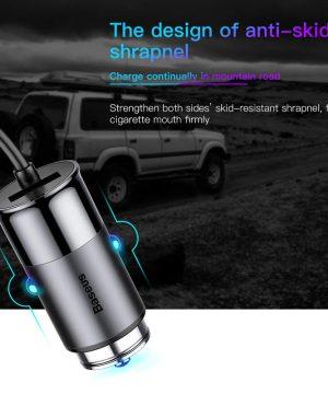 Adaptér do auta s 4,8A portom a vstavaným LIGHTNING káblom-čierny