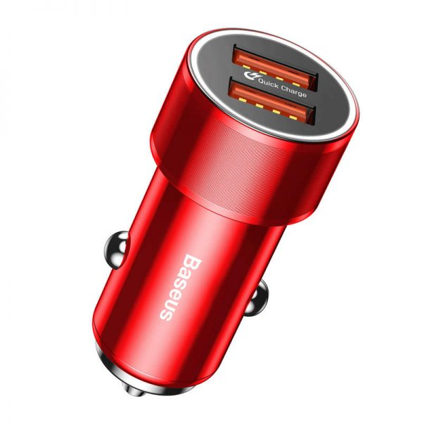 Adaptér do auta s funkciou QUICK CHARGE 3.0, 2x port max 36W, červená farba