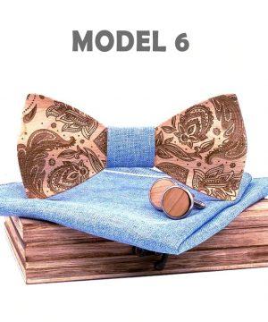 Drevený reliéfny motýlikový set z javorového dreva s ľudovým vzorom
