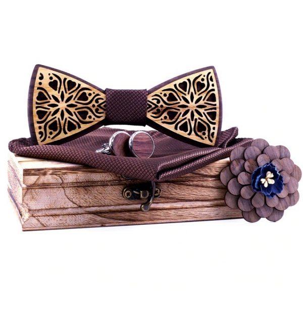 Dvojfarebný motýlikový set - drevený motýlik + brošňa + manžety + vreckovka