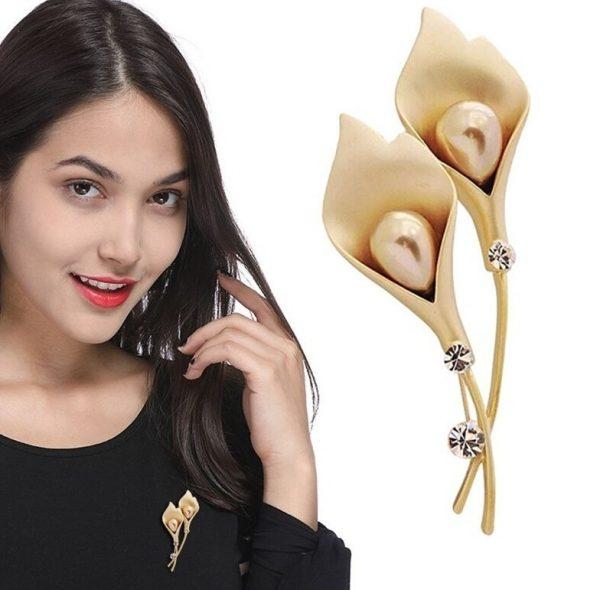Luxusná brošňa v tvare tulipánov s perlami - zlatá a strieborná.