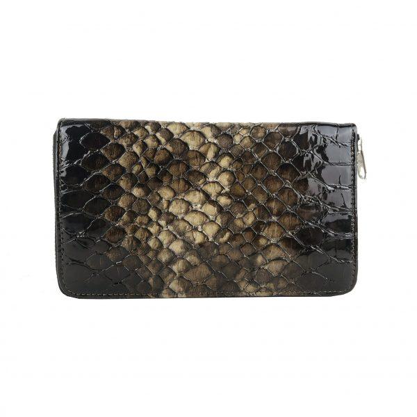Luxusná kožená peňaženka so vzorom hadej kože č.8606 v tmavo hnedej farbe