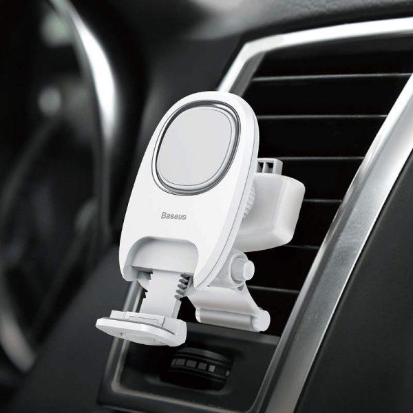 Magnetický držiak do ventilátora automobilu s nožičkou - biely