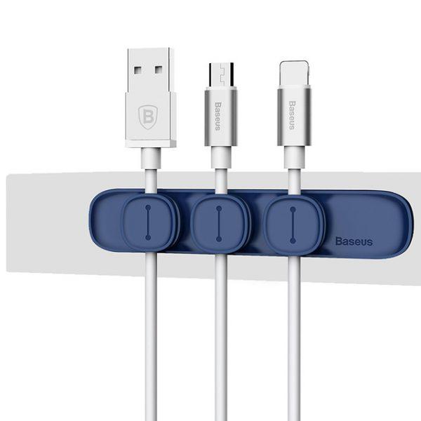Magnetický držiak a organizér káblov BASEUS v modrej farbe