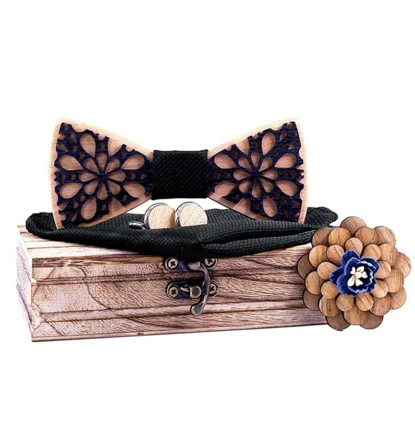 Motýlikový set dvoj-vrstvový - drevený motýlik + brošňa + manžety + vreckovka