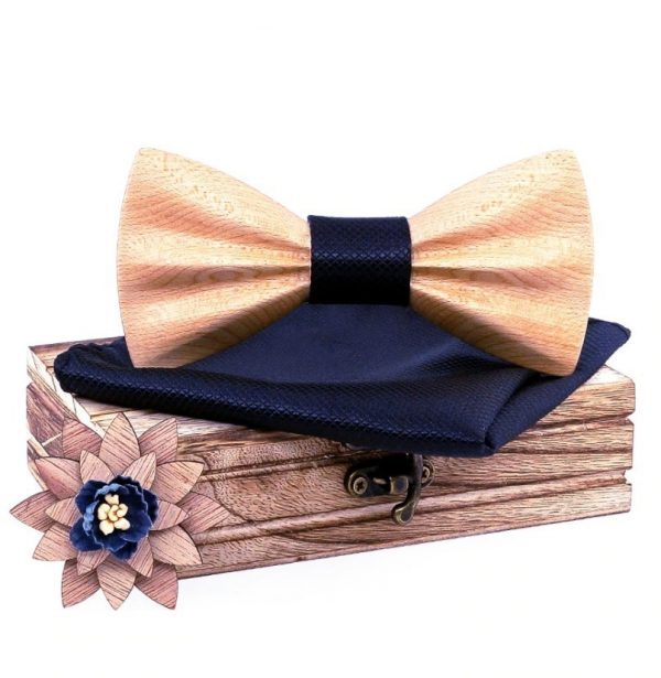 Motýlikový set z bukového dreva - drevený motýlik + brošňa + vreckovka